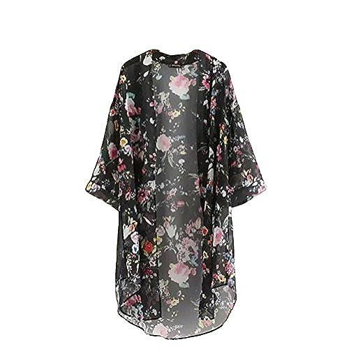 BLUETIME Womenu0027s 3/4 Sleeve Floral High Low Chiffon Kimono Cardigan Blouse  (M, Black)