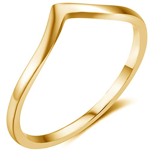 Jude Jewelers Stainless Steel Pointed Chevron Classical Simple Plain Statement Promise Ring (Gold, -