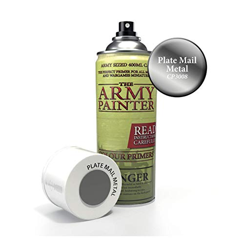 The Army Painter Color Primer, Plate Mail Metal, 400 ml, 13.5 oz - Acrylic Spray Undercoat for Miniature ()