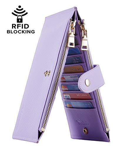 Travelambo Womens Walllet RFID Blocking Bifold Multi Card Case Wallet with Zipper Pocket (CH Purple Light 5200) (Cute Iphone 5 Cases With Card Holder)