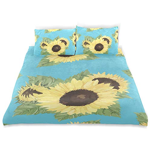 Honey Mill Sunflower Kid Duvet Cover Set 3 Pcs Bedding Set Children Soft Comfortable Duvet Cover Set Pillow Case Toddler Comfortabal Bed Cover