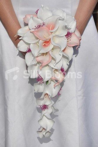 Bouquet Cascata Sposa.Brillante Bianco E Rosa Calle Con Punta A Cascata Da Sposa Bouquet