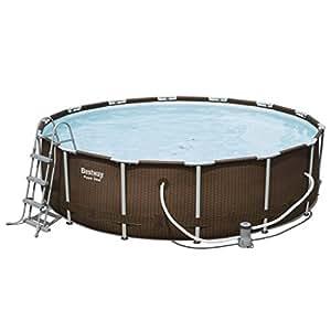 Fijo Night redondo para piscinas Set con marco de acero Familia de piscina jardín Piscina 427x 107cm