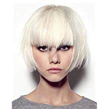 Tsnomore Trendy Dapper Short Straight White Women Bob Wig with Full Bang (white)