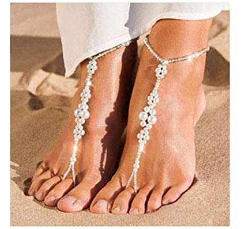 Arras Creations Patriotic Flag Beaded with Star Charms Barefoot Sandals Anklets for Women AZANBF125-PAT