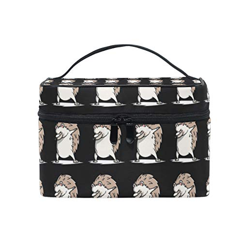 Travel Makeup Cosmetic Bags Funny Dabbing Hedgehog Toiletry Bags Makeup Suitcase For Women]()