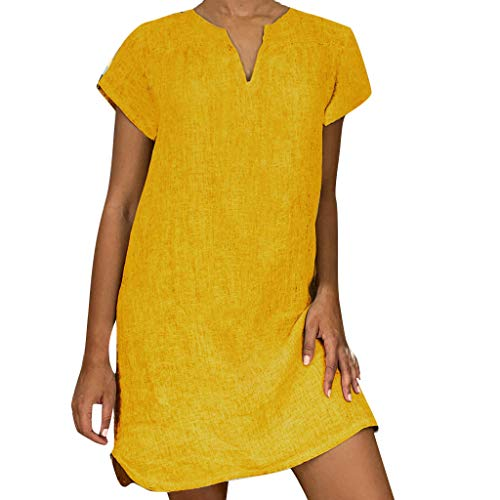 Answerl☀ Women's Casual Midi Dresses Short Sleeve Loose T-Shirt Solid Tunic Tops Summer Vintage Dress Yellow -