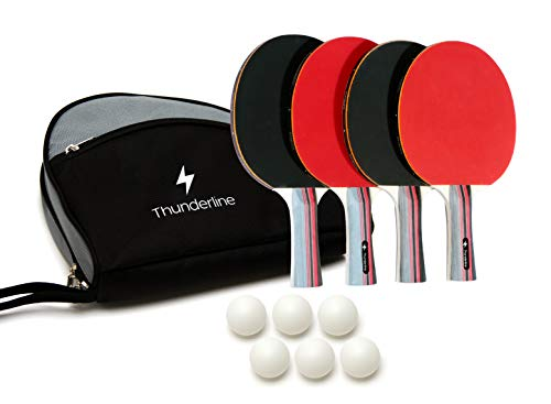 Ping Pong Paddle Set of 4 – Bundle of Rackets with Advanced Control, Crazy Speed, & Killer Spin – Comfortable Portable Case – 6 Professional ABS Table Tennis Balls – Indoor & Outdoor Play
