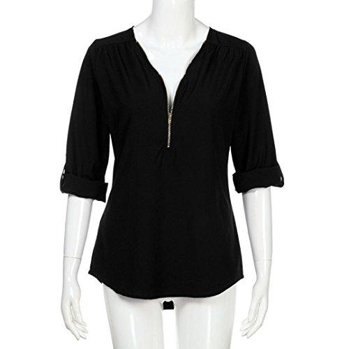 Tops Femmes Longues Blouse Noir Shirt Dcontracts T Bringbring Lache Manches PUvwq5wf