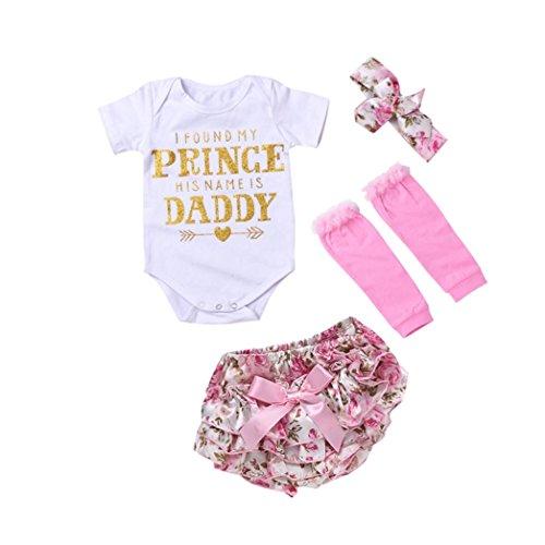 Sharemen Baby Girls Print Romper With Headband Leg Warmer Summer Clothes (White, 6-12 Months) ()