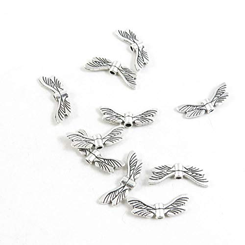 (100 Pieces Antique Silver Tone Jewelry Charms Findings Supplier Crafting Craft Making G3KN6V Dragonfly)