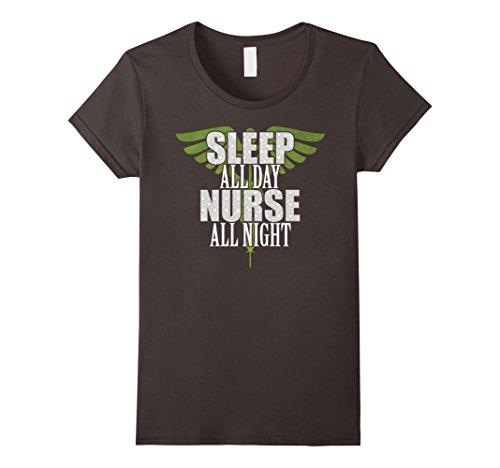 Women's Nurse t-shirt   Nightshift Nurse Gifts Large Asphalt
