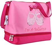 Pink Princess Ballet Dance Tote Bag for Little Girls Ballerina Kid Toddler Teen Dancer with Double Layer Compa
