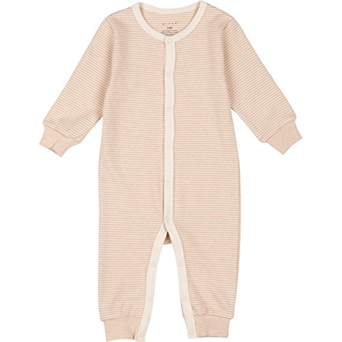 Niteo Baby Organic Cotton Snap Front Coverall, Light Brown Pinstripes, 3-6M