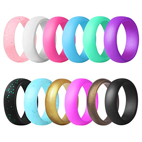 QVOW Silicone Rings for Women, Thin, Affordable and Stackable Rubber Wedding Bands for Athletes, Workout, Fitness, Gym, Exercise, Smooth Design, 12 Packs, 5.7mm Wide, Size: 8 (18.1mm)