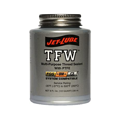 Jet-Lube TFW Multipurpose Thread Sealant with PTFE, 1 pt Brush Top Can 24004