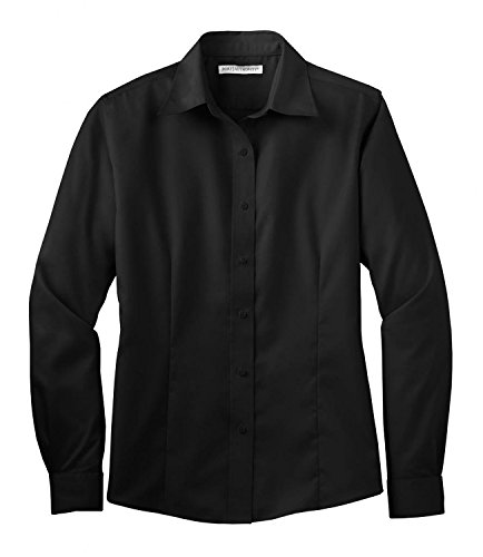 Port Authority Womens Long Sleeve Non-Iron Twill Shirt L638 -Black XL ()