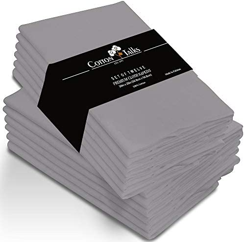 "Cotton Talks Cloth Napkins Set of 12 Cotton - 20"" X 20"" Reusable Napkins - Oversized Cotton Napkins Made of Pure Cotton Fabric - Used as Dinner Napkins (Grey)"