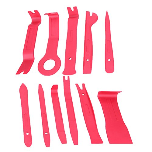 Gigamax(TM) 11Pcs Auto Car Radio Panel Interior Door Clip Panel Pry Tool Trim Dashboard Removal Opening Tool Set Diy Car Repair Tool Pry Kit [ Red ] by GigaMax (Image #1)'