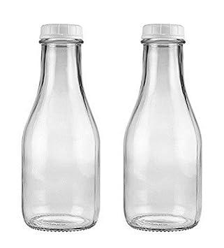 Transparente cristal biselado blanco botellas de leche con