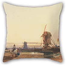 Oil Painting Thomas Shotter Boys - Landscape With Windmills Pillow Cases 18 X 18 Inches / 45 By 45 Cm Best Choice For Living Room Bench Wife Boys Teens Home Theater With Twin Sides