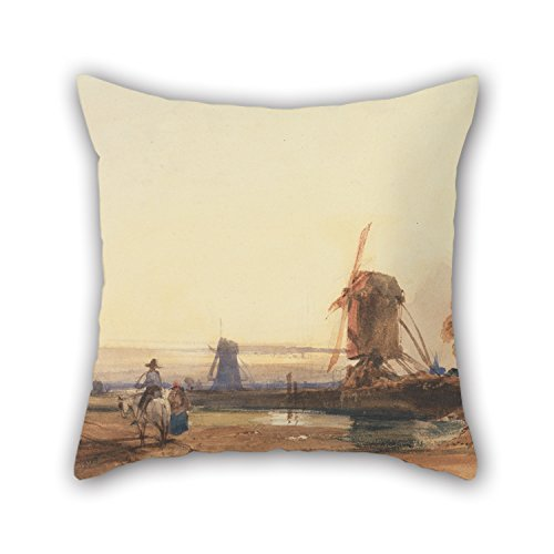 20 X 20 Inches / 50 By 50 Cm Oil Painting Thomas Shotter Boys - Landscape With Windmills Pillowcase ,two Sides Ornament And Gift To Bedroom,play Room,kids - Wind Moon Ornament