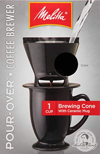 Melitta Single Cup Pour-Over Coffeemaker with Black Brewing Cone and Ceramic Coffee Mug (Pack of 4) ()