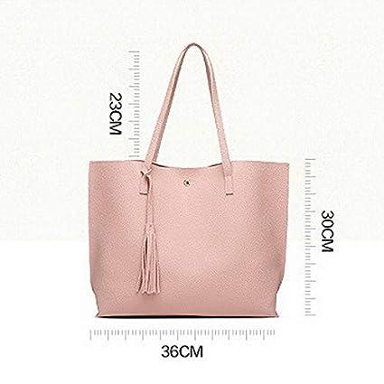 54a74dda8e1 LFNYZX Nuevos Diseñadores de Moda Sencillos Bolsos de Marca Famosos Bolsos  Grandes de Mujer Borla Bolsos de Cuero de PU Grande/Bolsos de Hombro:  Amazon.es: ...