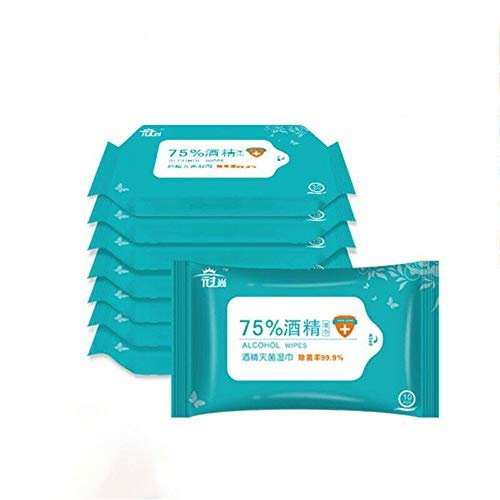 hmkazm 75% Alcohol Cotton Clean Wipes Disinfectant Wet Tattoo Swabs, 10pcs/ Pack Alcohol Wet Wipes Antiseptic Cleaning…