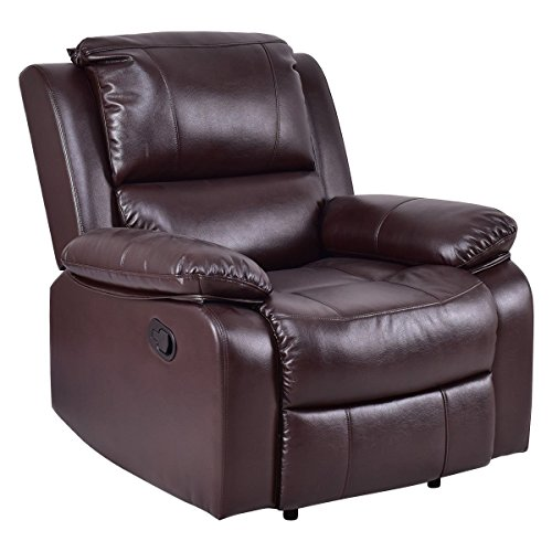 Giantex Sofa Recliner Ergonomic Lounge Chair PU Leather Manual Padded Reclining (Leather Lounge Recliner)