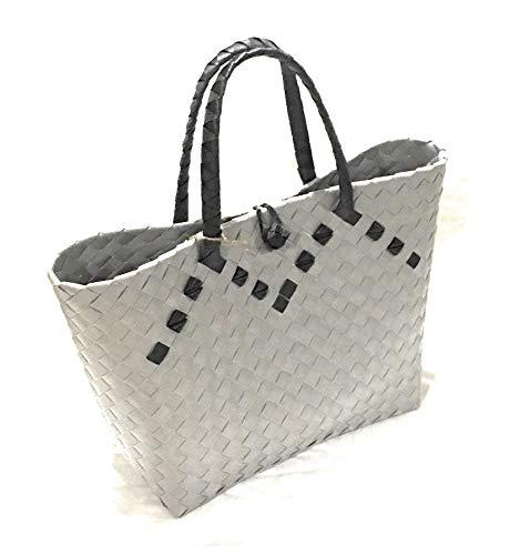 - CARTINA Women Straw Handbag Summer Beach Handbag Classic - 2 tone Tote Handbag ...(silver/black handle)