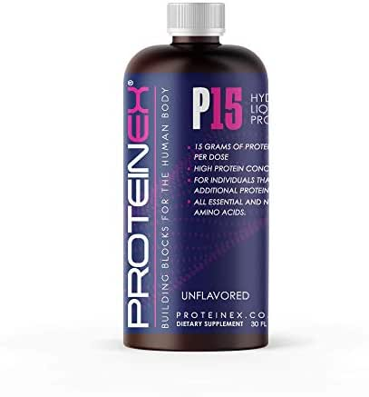 Liquid Protein Hydrolyzed by Proteinex 15 Grams Protein, 30 Oz No Fat, Sugar Free, No Carbs. Predigested Hydrolysate Supplement. Supports Recovery Surgery Treatment Muscles and Joints (30, Unflavored)
