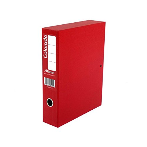 Rexel Colorado Box Files with Lock Spring 70mm Spine Foolscap Red,Pack of 5