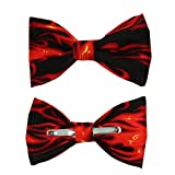Men's Black / Orange Flames Fire Clip On Cotton Bow Tie by amy2004marie