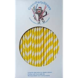 Yellow Striped Paper Straws - Yellow Candy Cane Striped Straws wiith Many Uses - 144 Count
