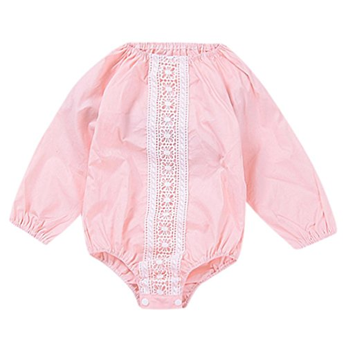 6 - 24 Months Odeer Fashion Infant Kids Baby Girl Long Sleeve Lace Jumpsuit Romper Outfits Cotton O-Neck Clothes Pink (6 - 12 (Pin Up Girl Costume Ideas Halloween)