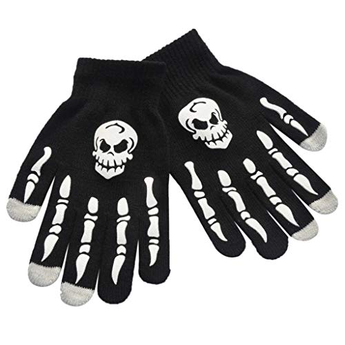 Tebatu Full Fingered Gloves,Halloween Horror Skull Claw Skeleton Anti-Skid Rubber Outdoor Mittens Wrist Warmer in Winter Cycling ()