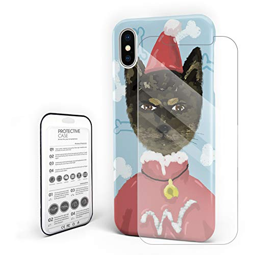 Phone Case iPhone X Case Cover, Watercolor Cat wear Christmas Costum Pattern Protective Shock-Absorbing Scratch-Resistant Rugged Cover Hard Back Case]()