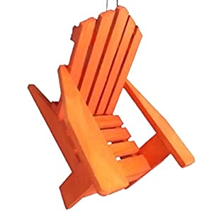 Adirondack Solid Wood Chair Orange Lawn Chair Camping Beach Christmas Tree  Ornament