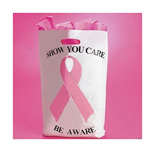 50 Pink Ribbon Plastic Bags - breast cancer awareness cure Popular Item