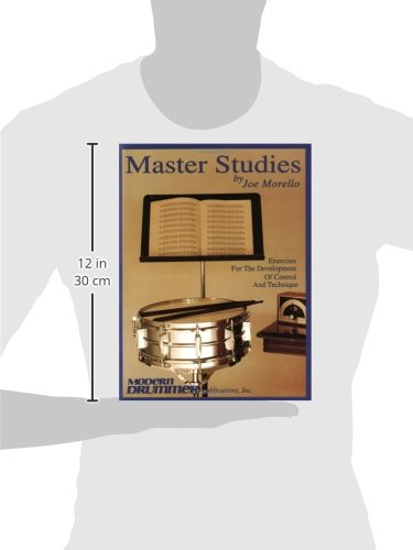 A picture of a silhouet holding the Master Studies drum book in front of him to illustrate its size