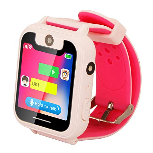 (Choosebuy❤️ Kid Smart Watch, Touch Screen 2G Smart Wristwatch Phone/GPS Real-time Two-way Conversation/Anti-lost Single Camera Smartwatch Bracelet for Android for Kids (Pink))