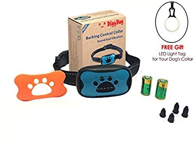 No Bark Training Collar S / M / L 100% Safe NO SHOCK or PAIN or HARM . Vibration & Sound Humane Device , Control Your Pet With Anti Barking Dog Collars - 7 Sensitivity Adjustable Levels