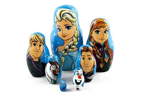Matryoshka Russian Nesting Doll Babushka Beautiful Cartoon Characters Frozen Elsa Elza 7 Pieces Pcs Wooden Hand Painted Souvenir Craft Gift by MATRYOSHKA&HANDICRAFT by MATRYOSHKA&HANDICRAFT (Image #4)