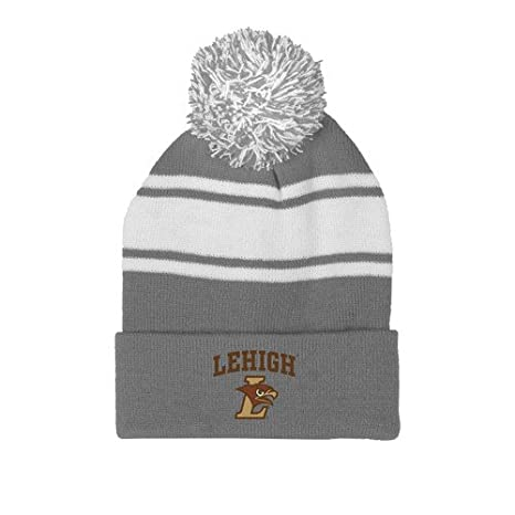 9e889e93934 Image Unavailable. Image not available for. Color  CollegeFanGear Lehigh  Grey White Two Tone Knit Pom Beanie ...