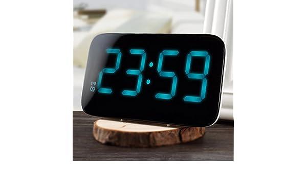 Shuangklei 12/24 Horas Reloj Despertador Led Control De Voz Pantalla Led Grande Electrónica Digital De Sobremesa Backlinght Snooze Watch Relojes De Mesa: ...