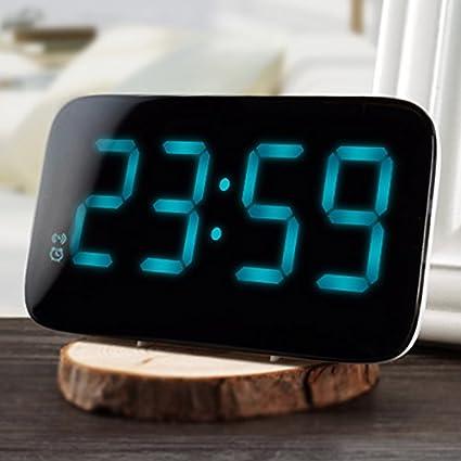 Shuangklei 12/24 Horas Reloj Despertador Led Control De Voz Pantalla Led Grande Electrónica Digital