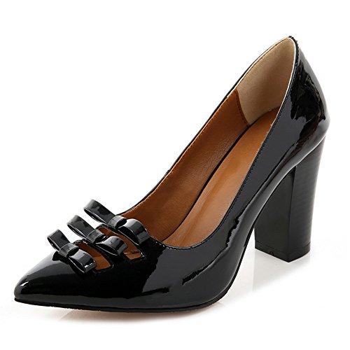 Nine Seven Cuero Zapatos de Vestir de Tacón Grueso con Lazo para Mujer negro