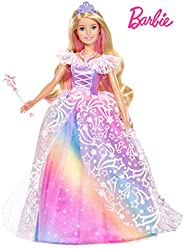 Barbie Dreamtopia Royal Ball Princess Doll, Blonde Wearing Glittery Rainbow Ball Gown, with Brush and 5 Access