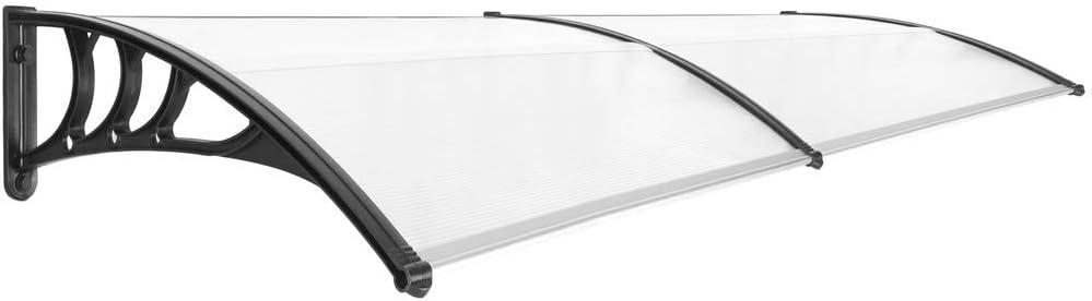 PrimeMatik - Tejadillo de protección 240x80cm Marquesina para Puertas y Ventanas Negro